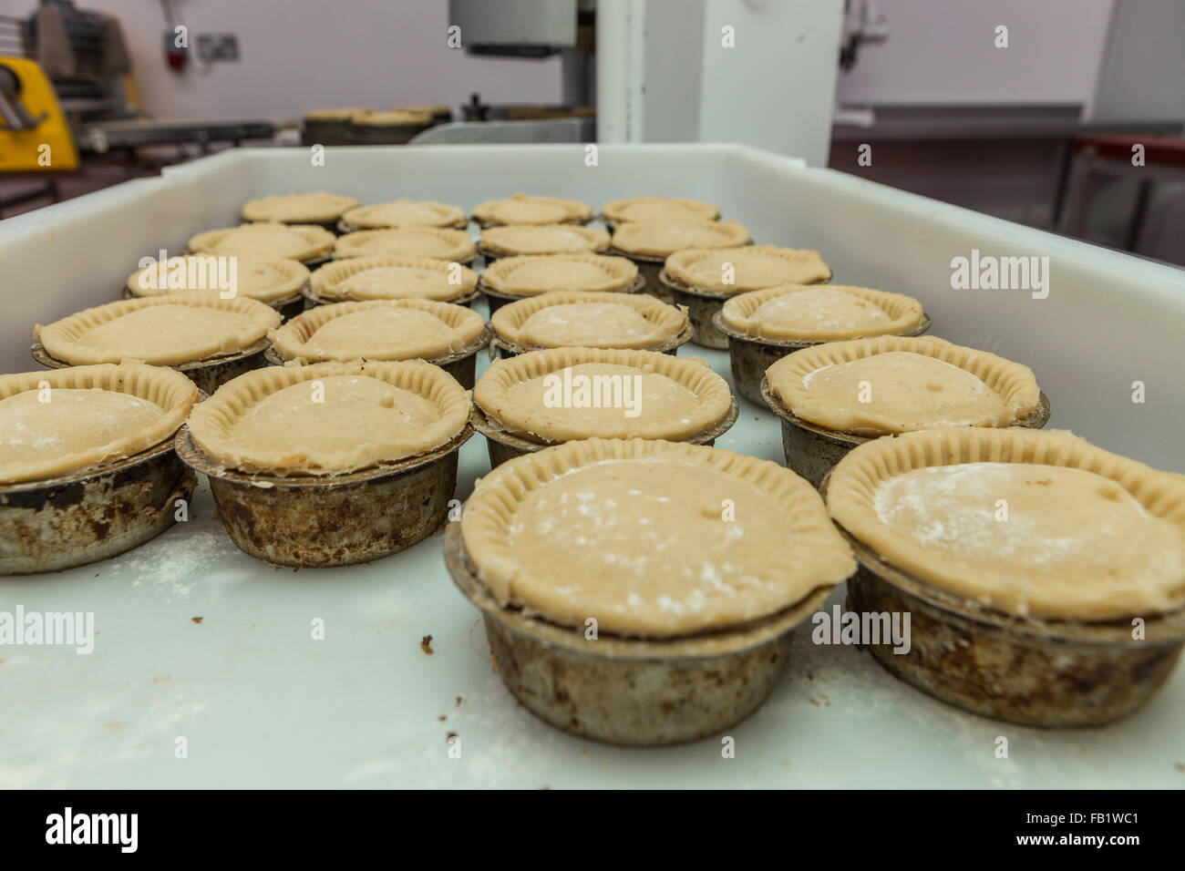 Freshly made pies ready to be cooked on a tray. - Stock Image
