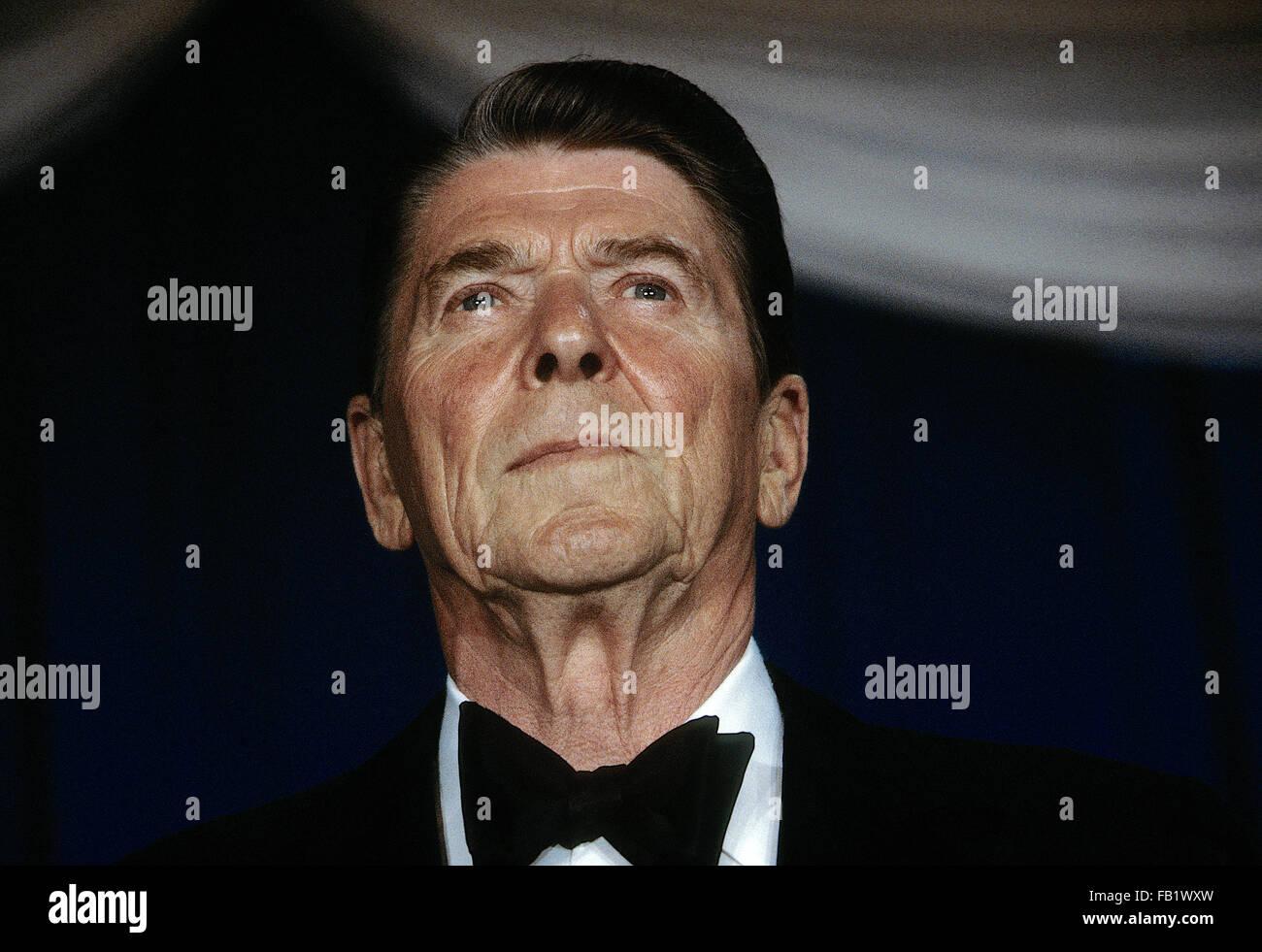 Washington, DC., USA,  May 1984 President Ronald Reagan at black tie dinner. Credit: Mark Reinstein - Stock Image