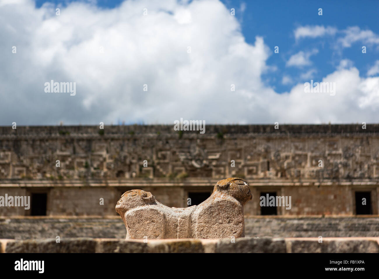 Ruins at Uxmal, Yucatan, Mexico. It is an ancient Maya city of the classical period. - Stock Image