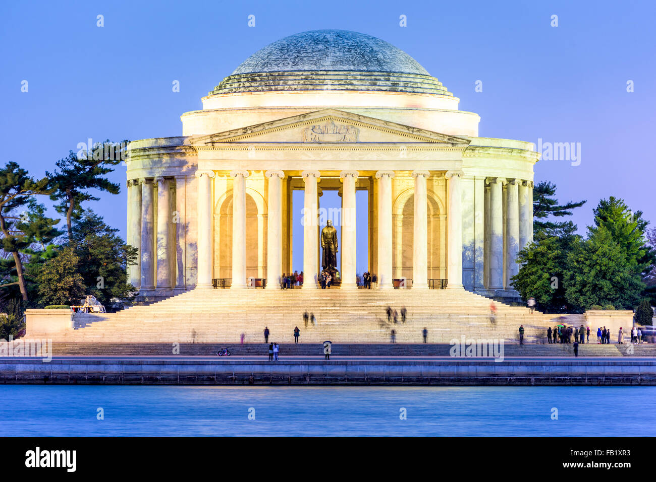 Washington, DC at the Tidal Basin and Jefferson Memorial. - Stock Image