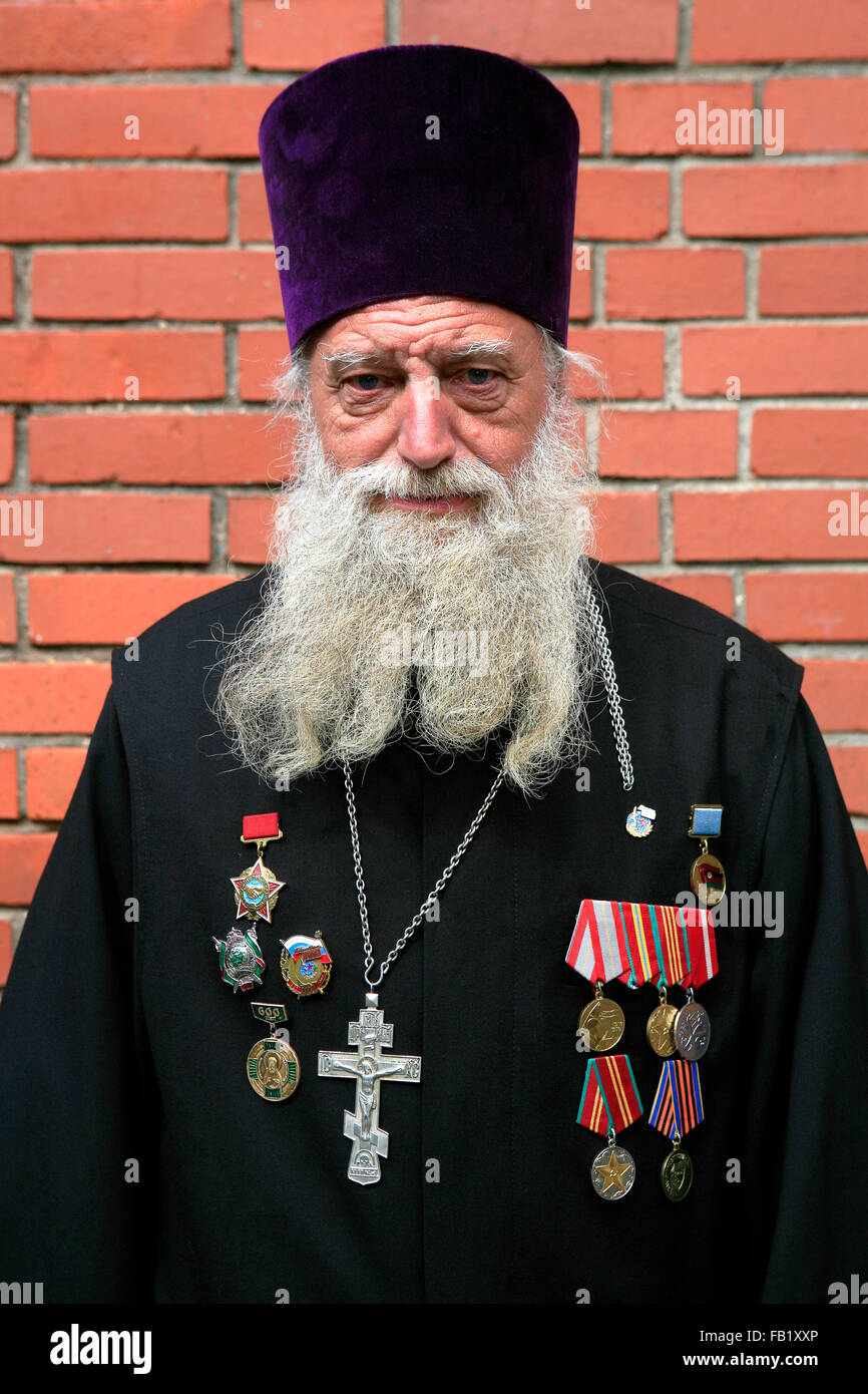 Russian Eastern Orthodox military priest at the Kremlin in Moscow, Russia - Stock Image