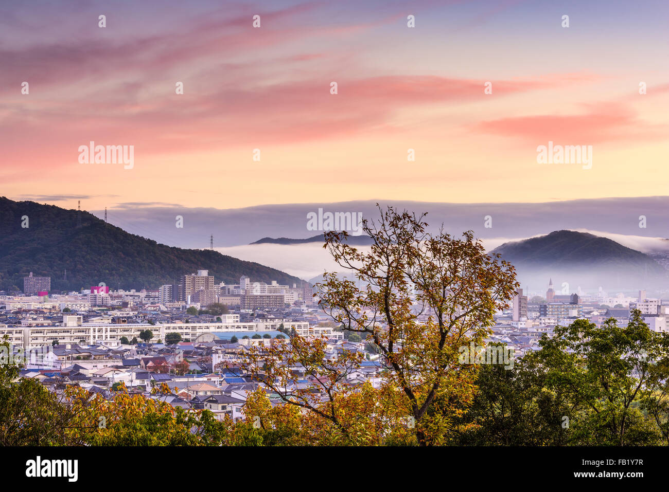 Himeji, Japan morning cityscape. - Stock Image