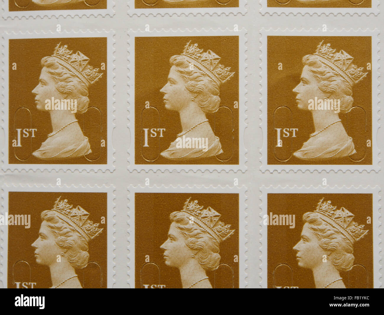 British First Class postage stamps - Stock Image