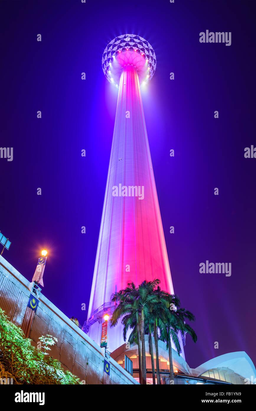KL Menara Tower at night in Kuala Lumpur, Malaysia. - Stock Image