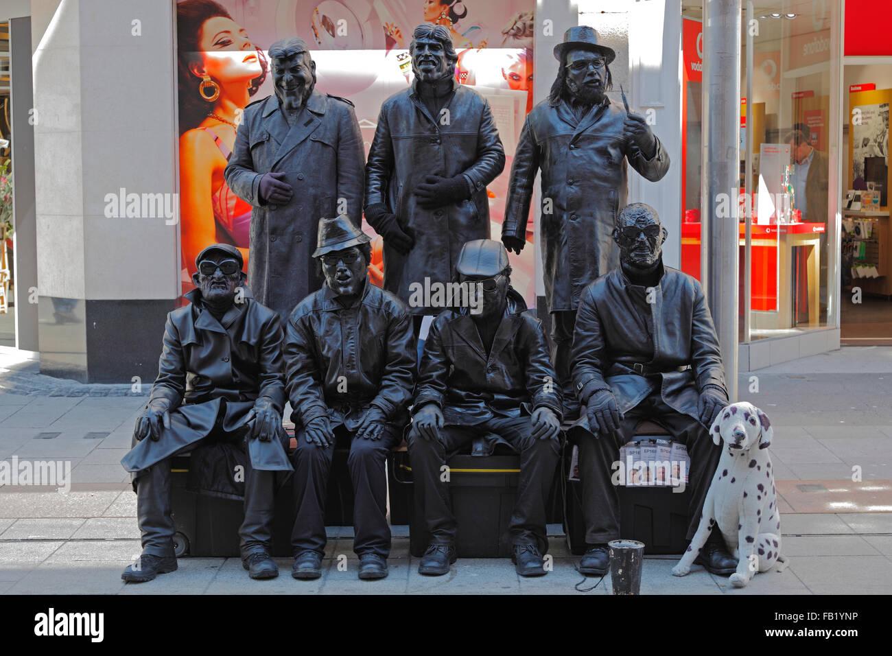 street performer on Henry Street in Dublin, Ireland - Stock Image
