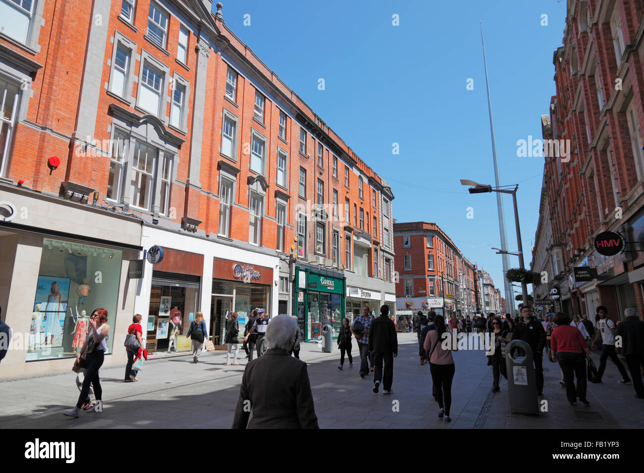 Henry Street and Spire Monument in Dublin, Ireland - Stock Image