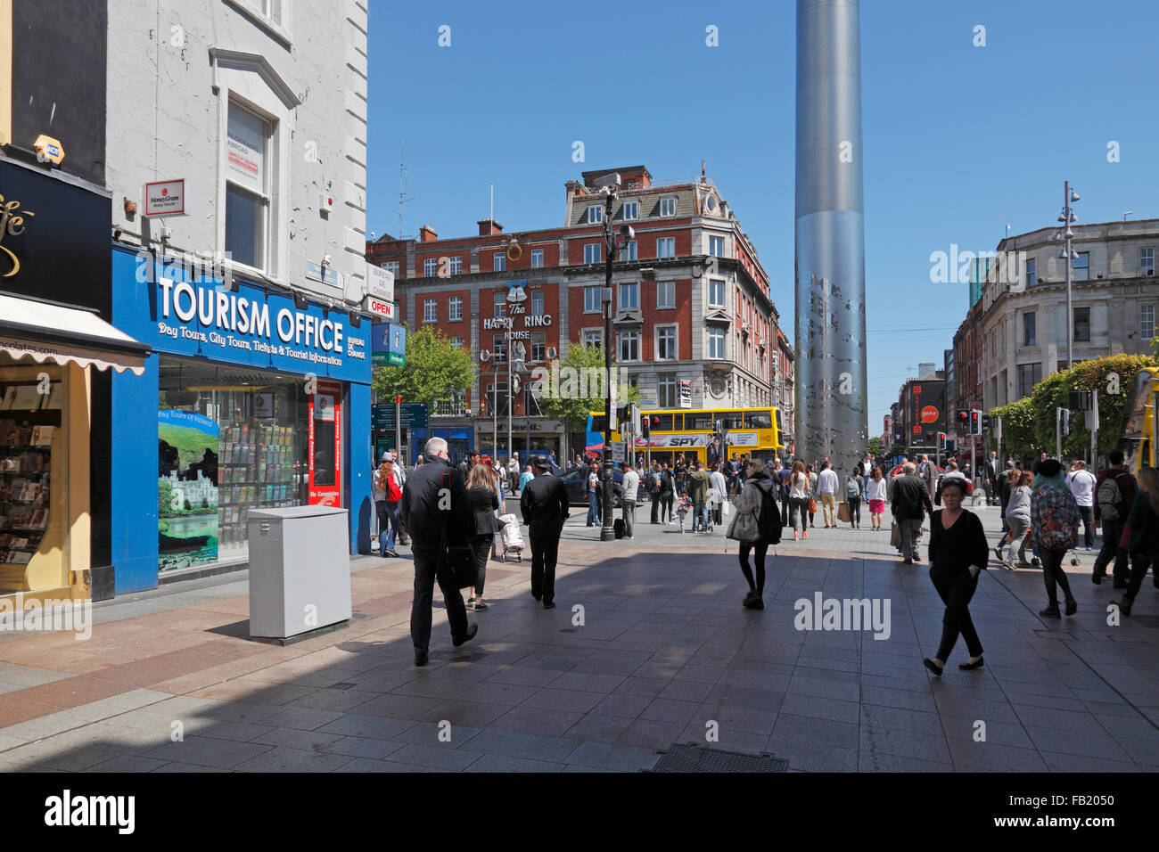 Tourism Office in the Henry Street and Spire Monument in the background, Dublin, Ireland - Stock Image