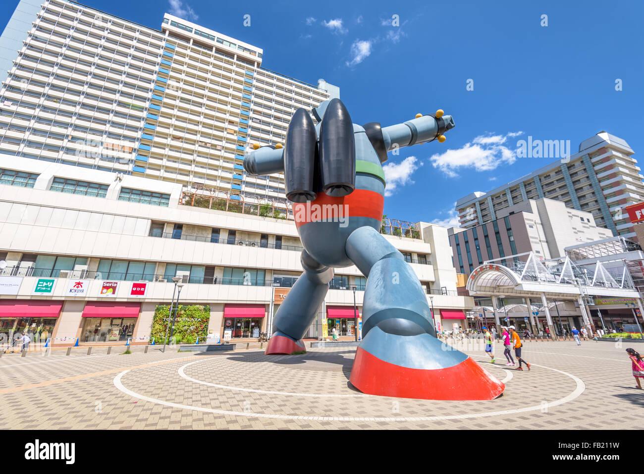 The Gigantor robot monument at Shin-nagata Station in Kobe, Japan. - Stock Image