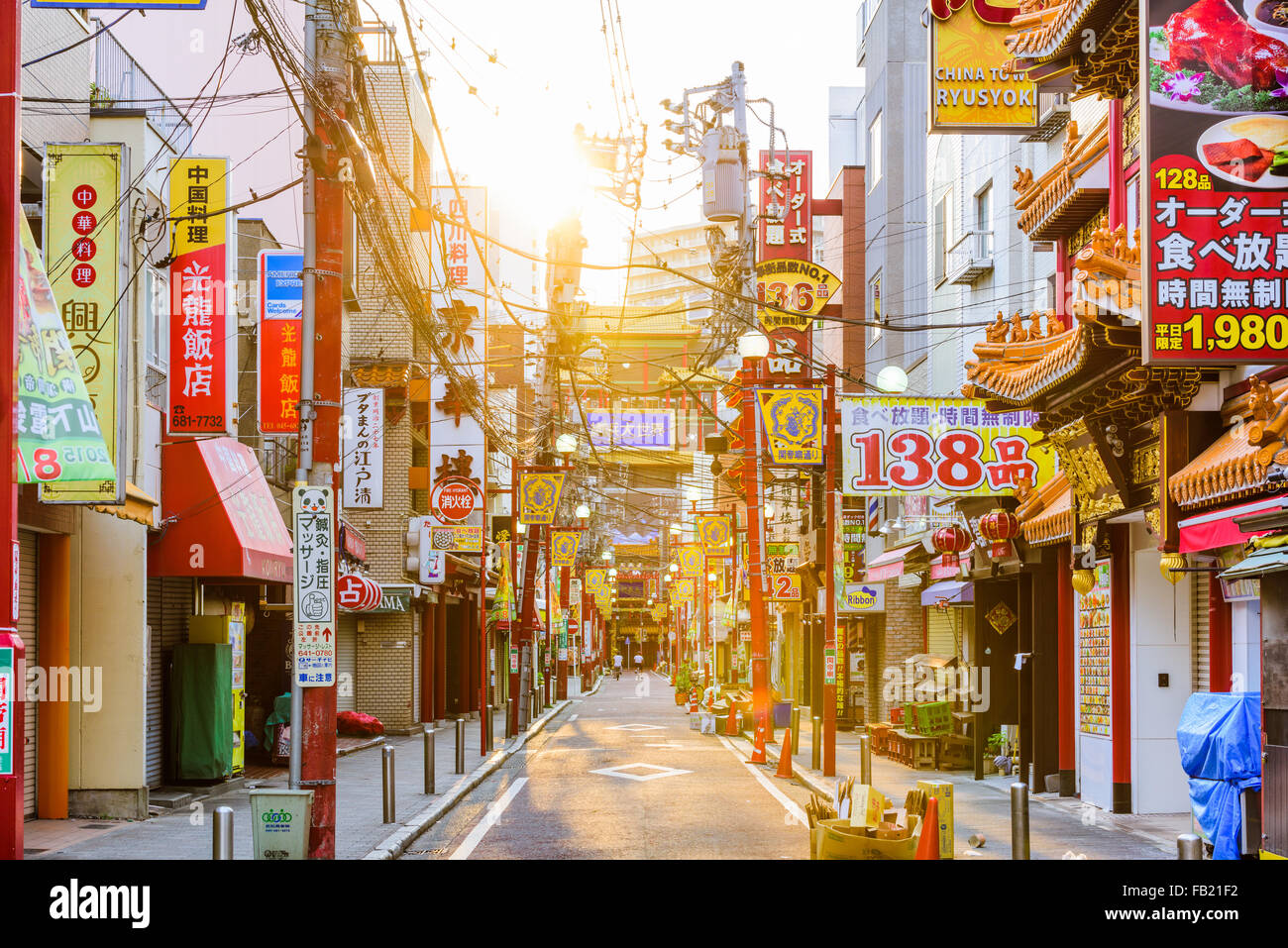 YOKOHAMA, JAPAN - AUGUST 11, 2015: Yokohama's Chinatown district. It is the largest Chinatown in Japan. - Stock Image