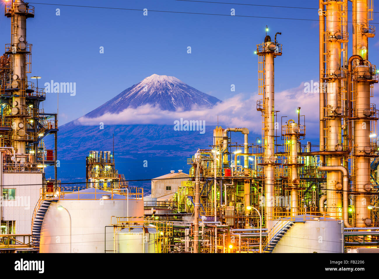 Mt. Fuji, Japan viewed from behind factories. - Stock Image