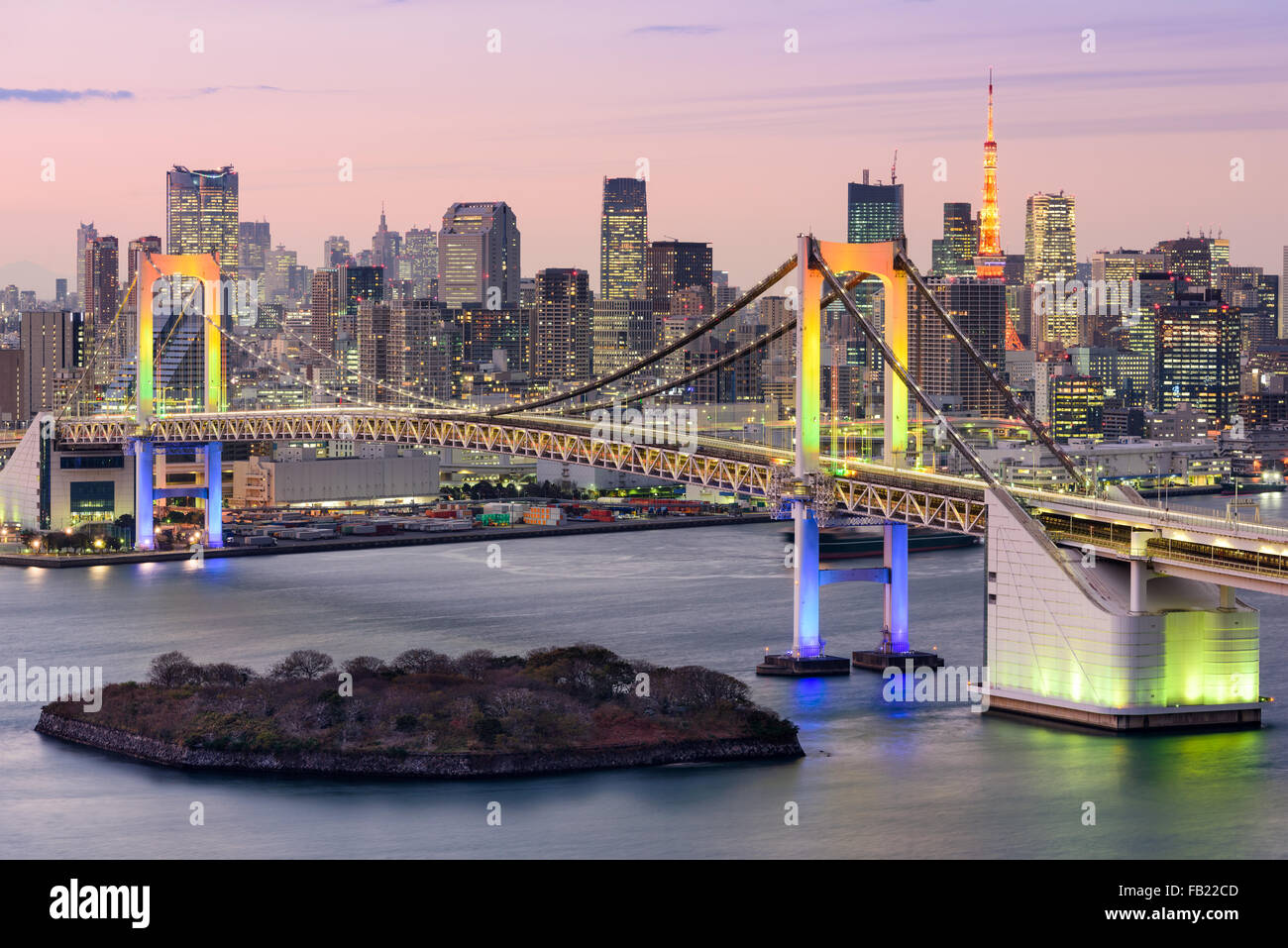 Tokyo, Japan skyline with Rainbow Bridge and Tokyo Tower. - Stock Image