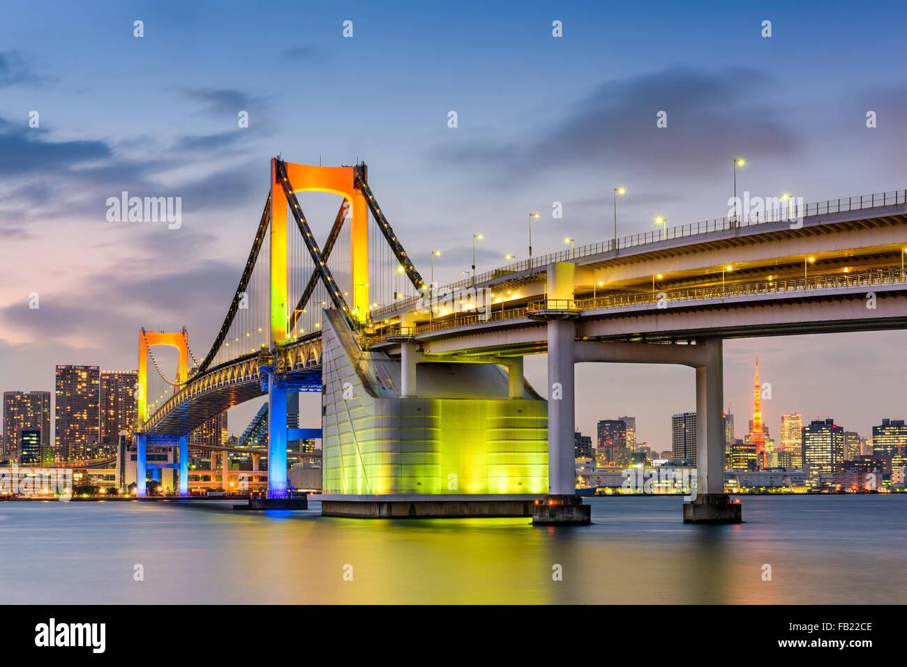 Tokyo, Japan at Rainbow Bridge spanning Tokyo Bay. - Stock Image