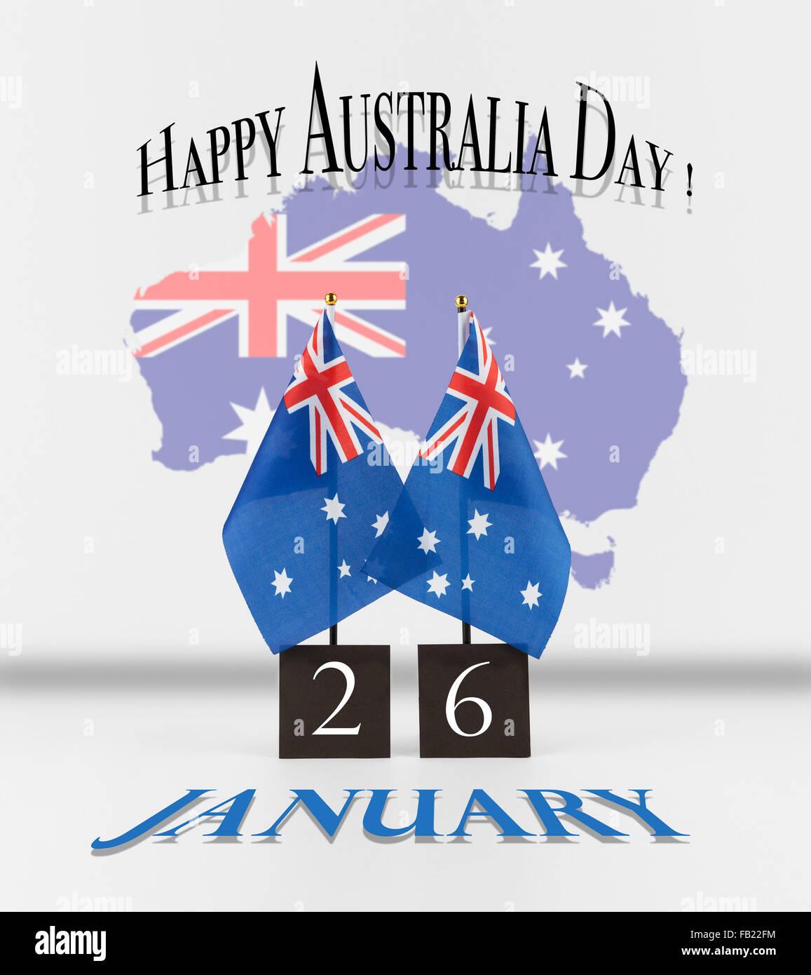 Australia day greetings two australian table flags with date and australia day greetings two australian table flags with date and map of australia australian national symbols isolated on whit m4hsunfo