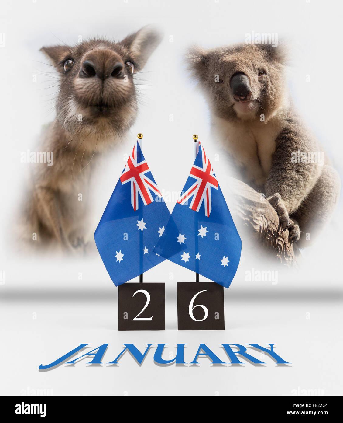 Two australian desk flags koala and kangaroo 26 january australia two australian desk flags koala and kangaroo 26 january australia day greetings symbols isolated on white m4hsunfo