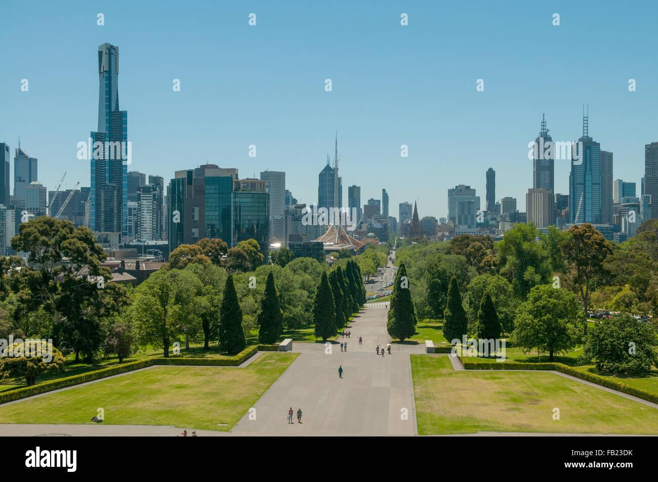 City Skyline from Shrine of Remembrance, Melbourne, Victoria, Australia - Stock Image