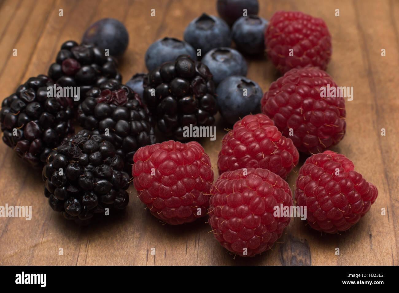 Fresh Mixed Berries (Blackberry, Raspberry, Blueberry) - Stock Image