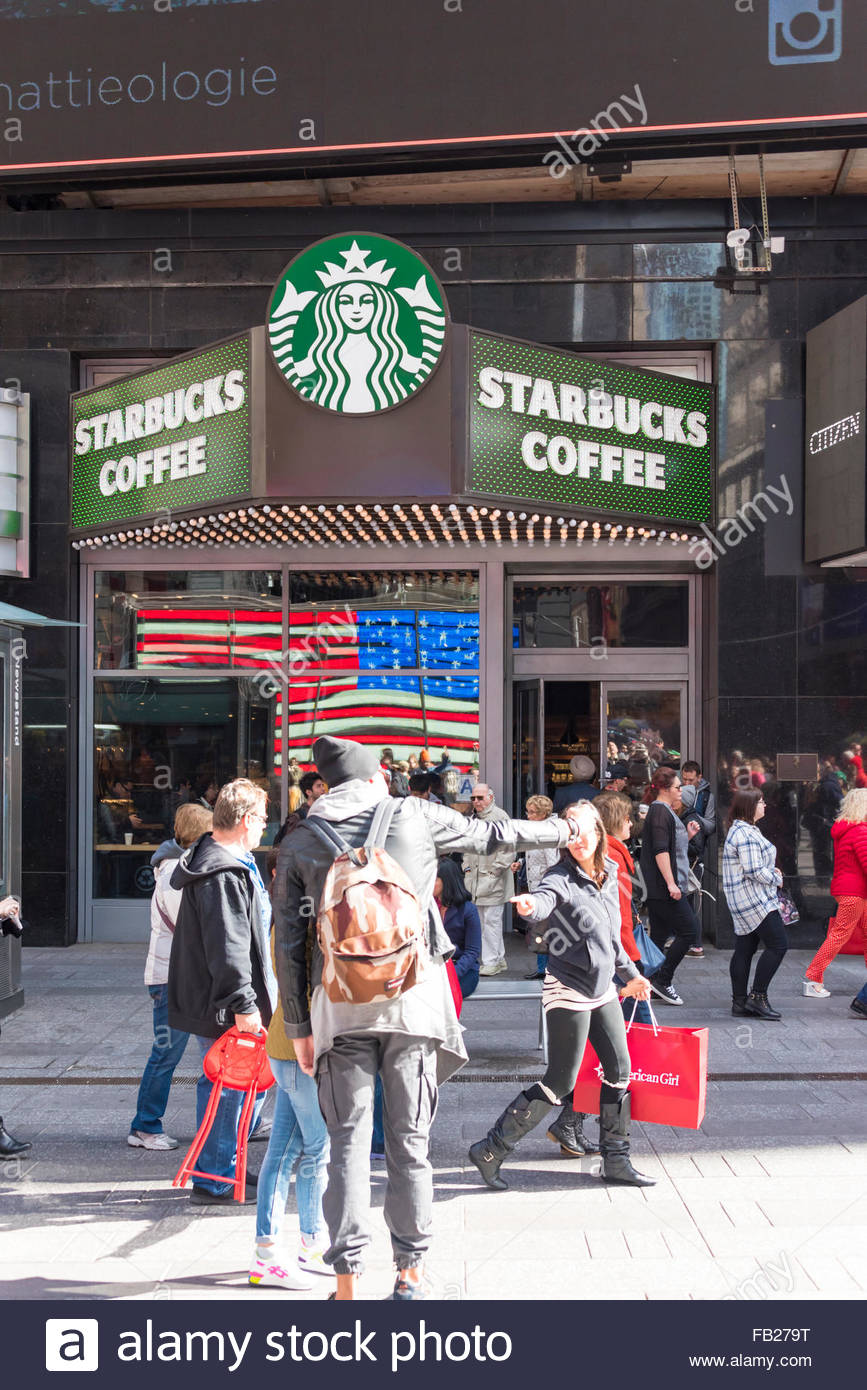 Starbucks store in New York City  Starbucks Corporation is an American coffee company and coffeehouse chain founded - Stock Image