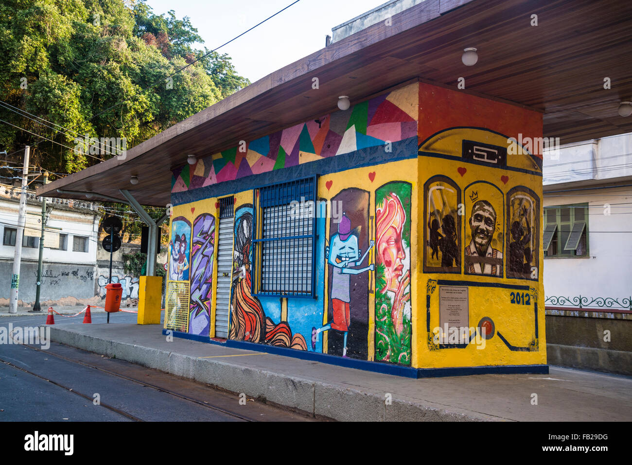 tram station largo do curvelo santa teresa rio de janeiro brazil stock photo 92864396 alamy. Black Bedroom Furniture Sets. Home Design Ideas