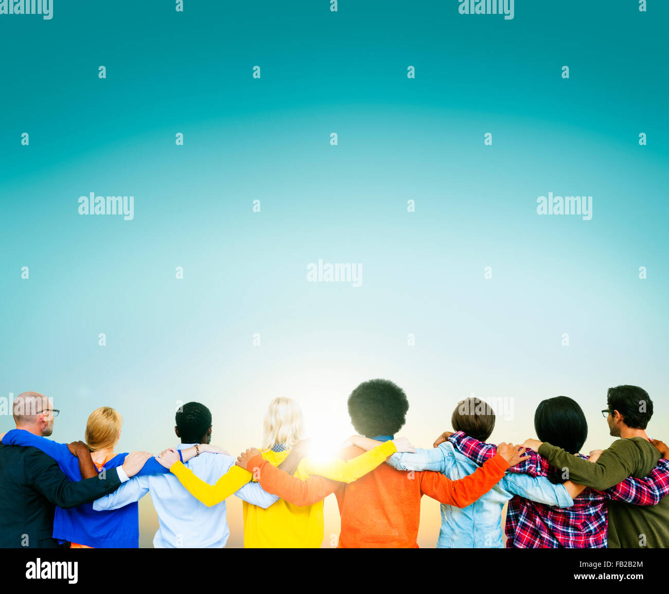 Connected Multiethnic People Turned Backside Concept - Stock Image