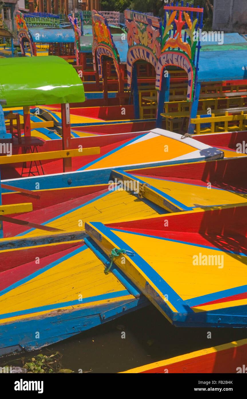 The colourful tourist boats of Xochimilco, Mexico City DF, Mexico, South America Stock Photo