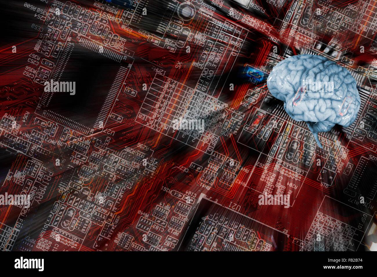 artificial-intelligence, human brain and communication - Stock Image