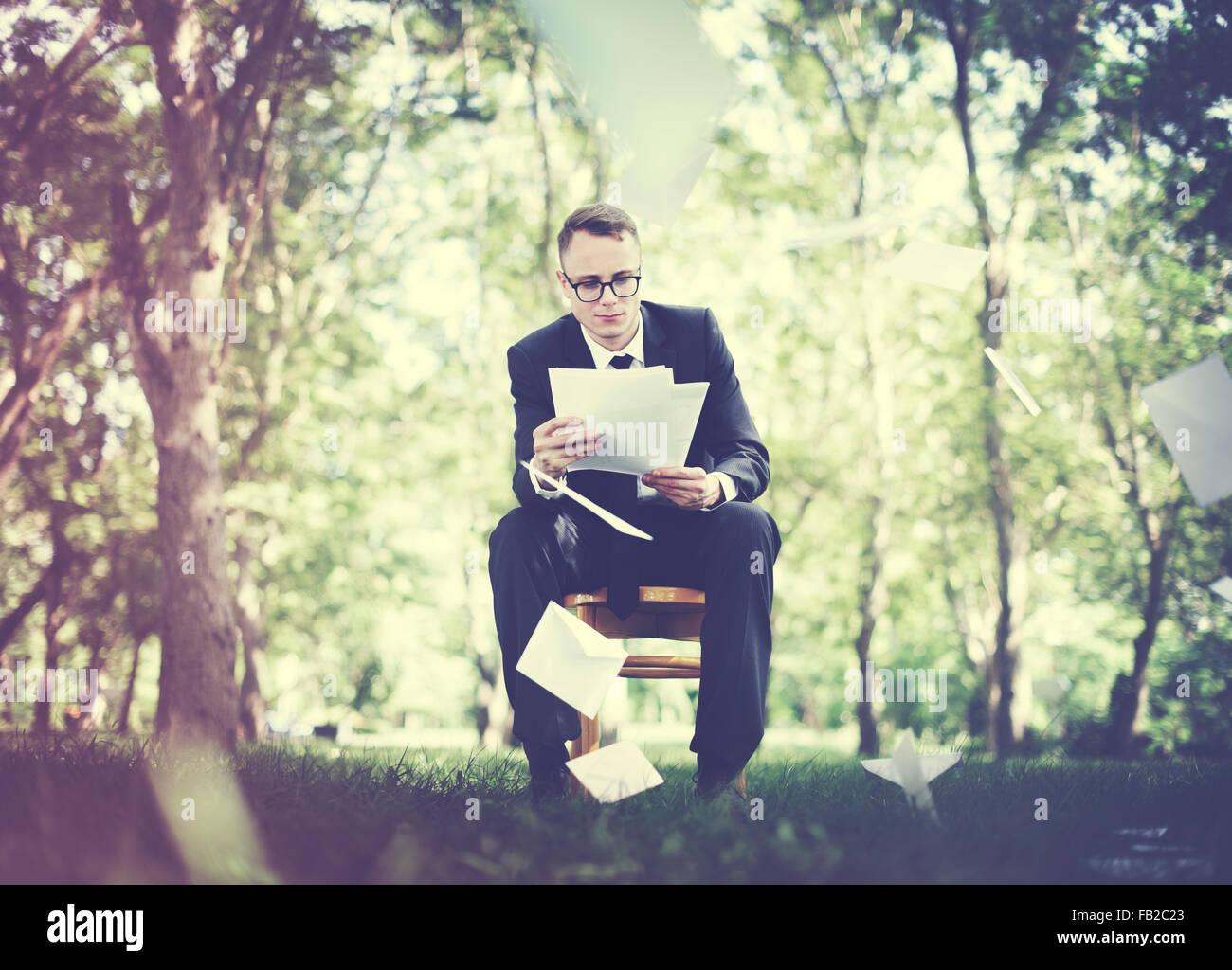 Businessman Stressful Sadness Failure Concept - Stock Image