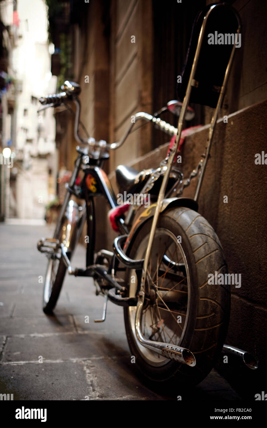 Cutom made bicycle in a narrow street - Stock Image