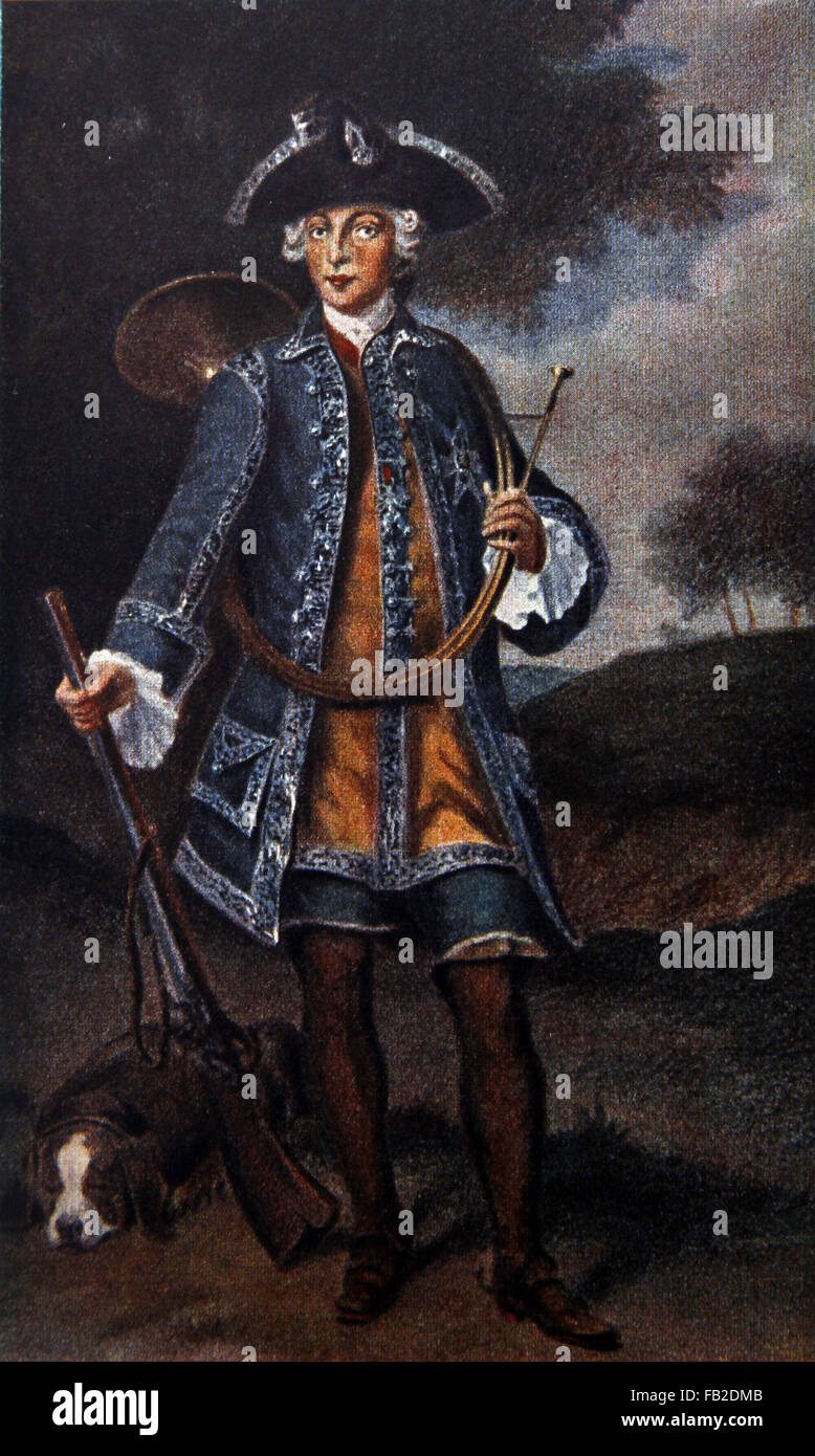 Kurfuerster Karl Albert Von Bayern in hunting clothes Stock Photo