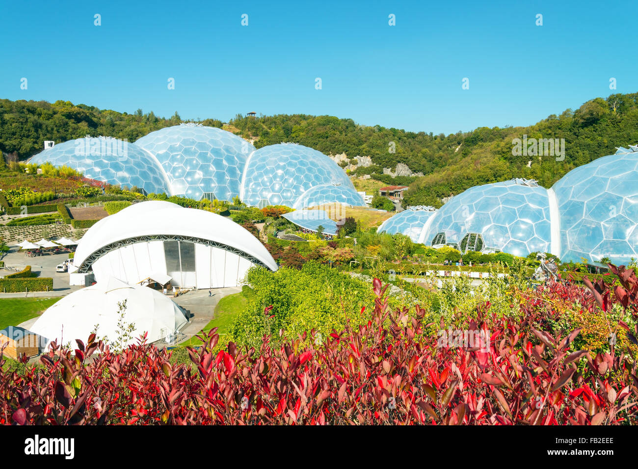 View Dome of the Eden Project in Cornwall. - Stock Image