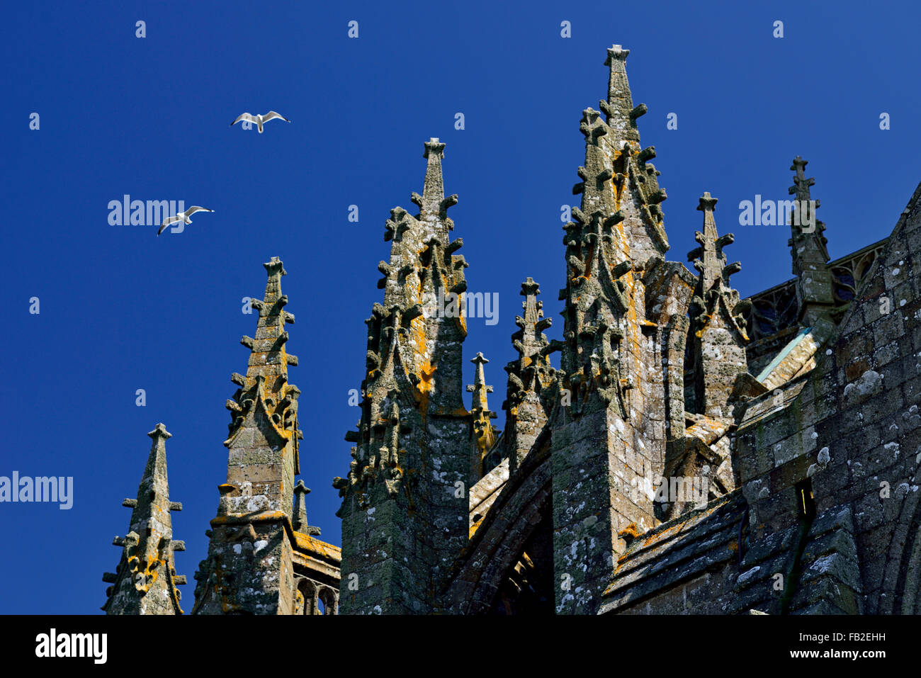 France: Roof top detail of the Abbey church of Le Mont St. Michel - Stock Image