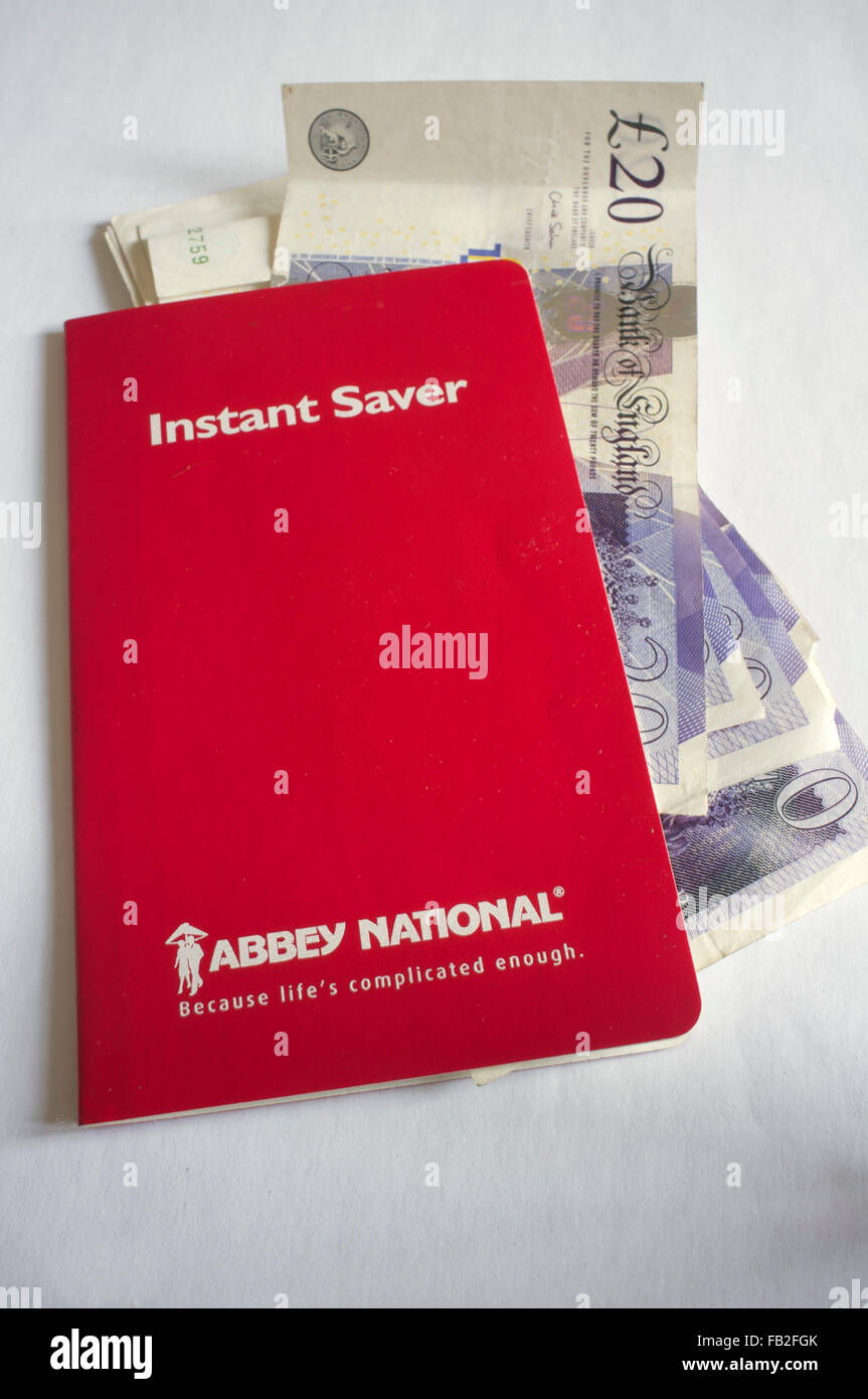 Abbey National savings book: Because life's complicated enough - Stock Image