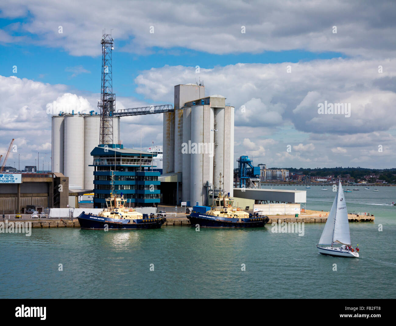 The Port of Southampton a passenger and cargo port located in the central part of the south coast of England in - Stock Image