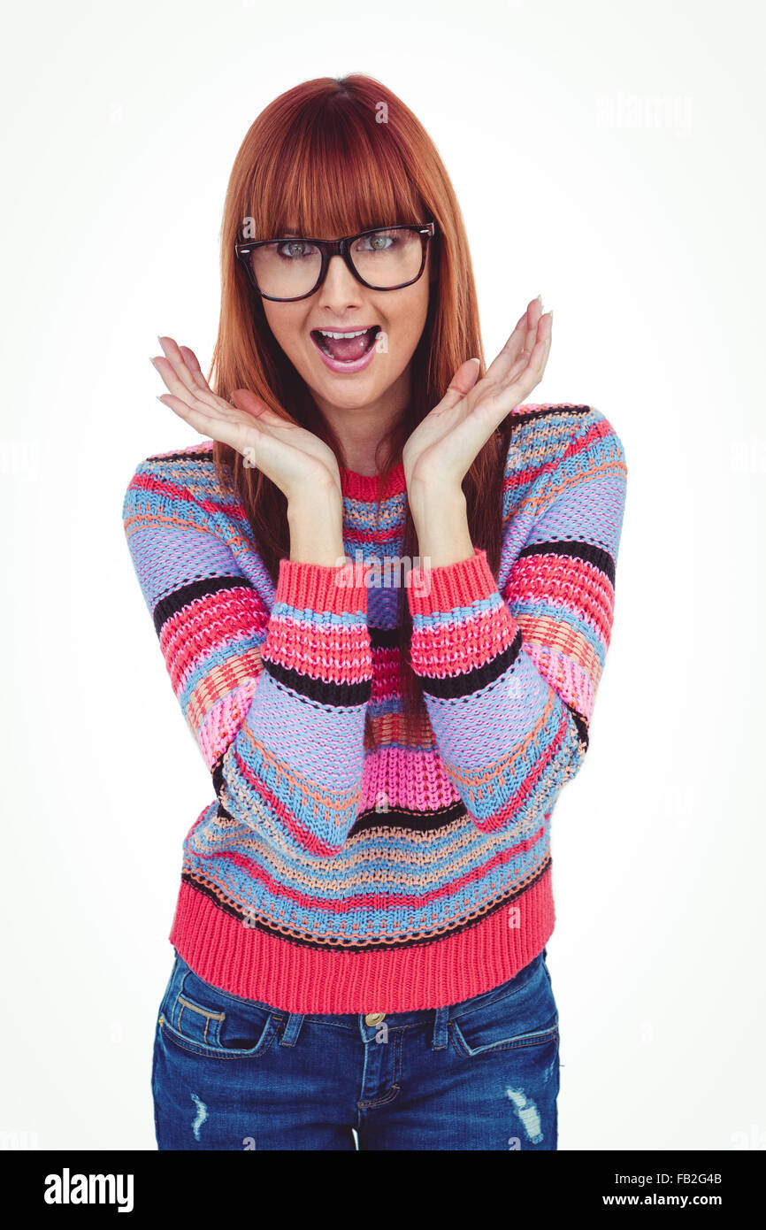 Astonished hipster woman looking at camera - Stock Image