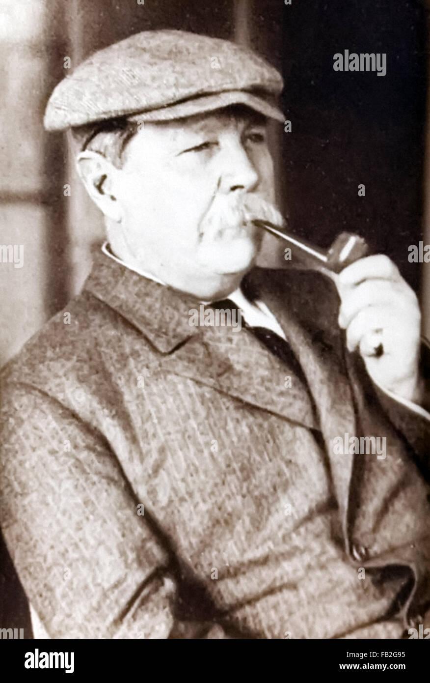 Sir Arthur Conan Doyle (1859-1930) British writer and creator of fictional detective Sherlock Holmes photographed - Stock Image