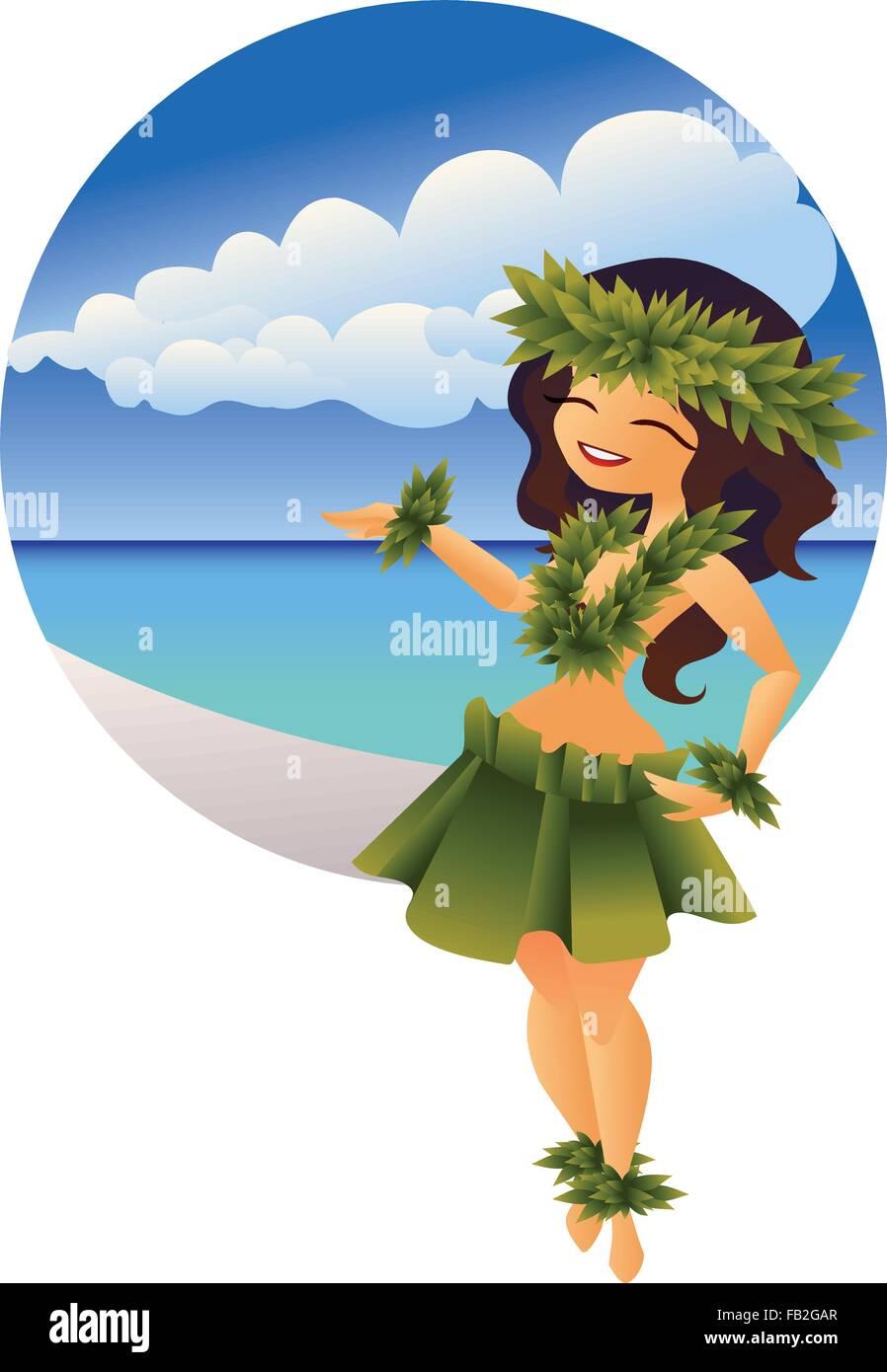 hawaiian young hula dancer on ocean beach - Stock Vector