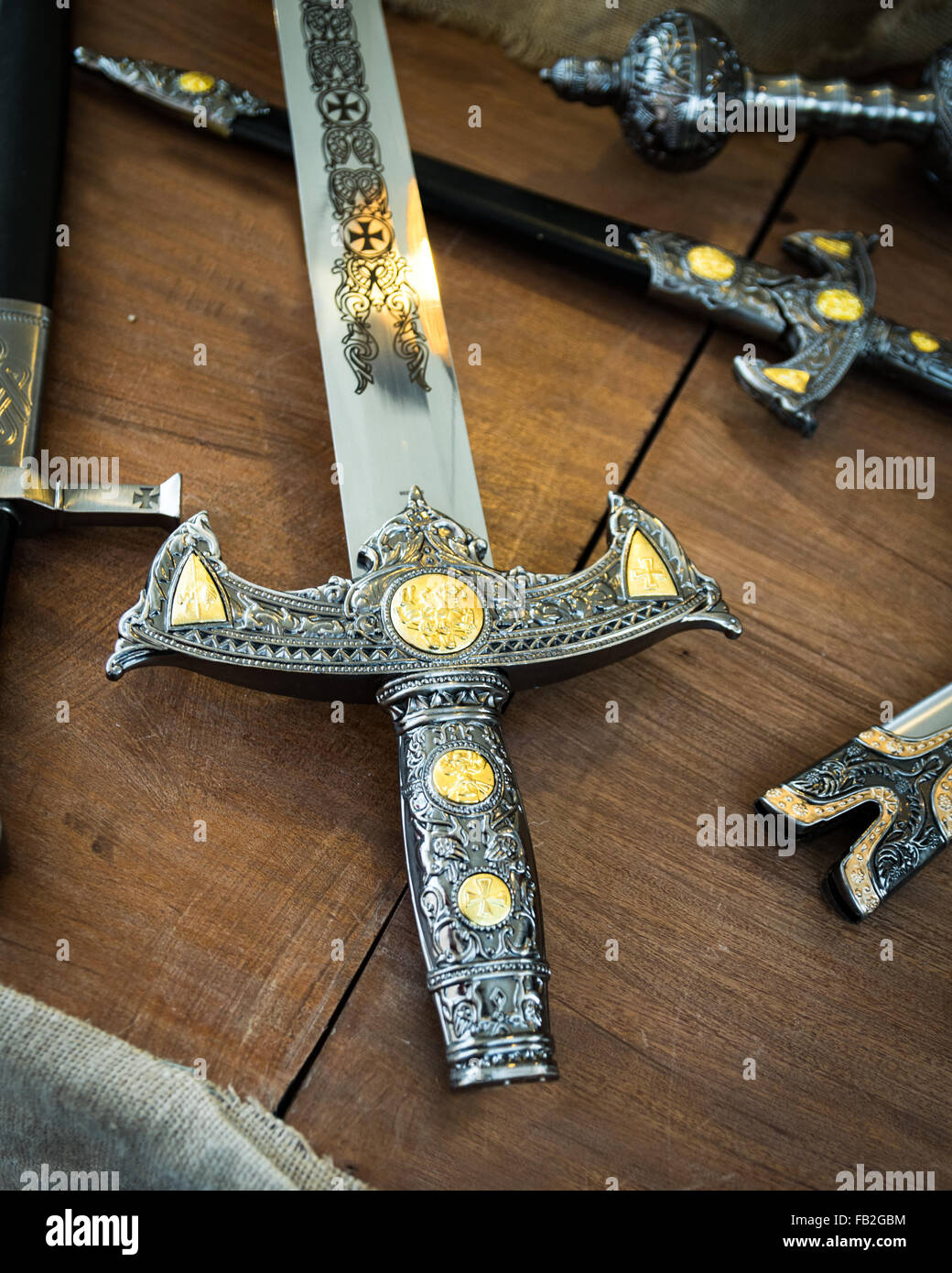 Detail of the hilt of a sword that dates from the time of the Crusaders. - Stock Image