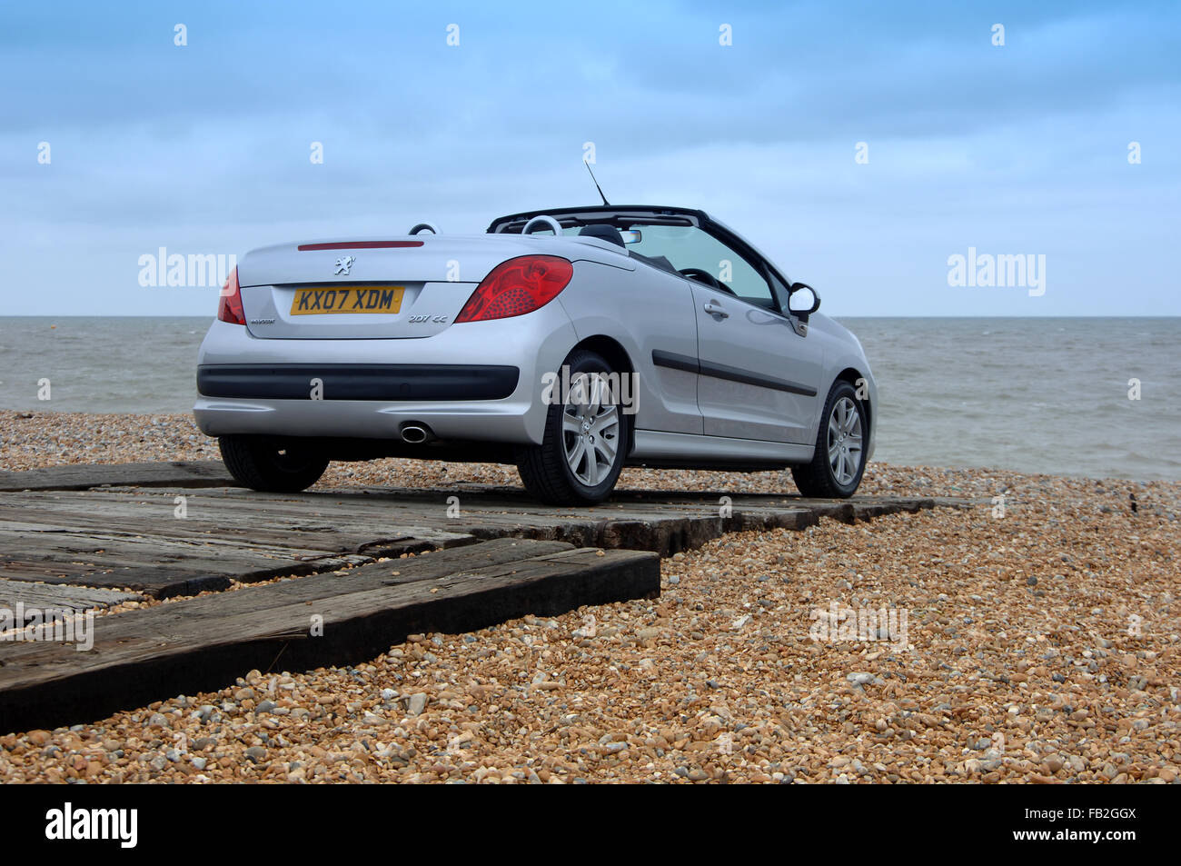 Peugeot 206 CC (Coupe Convertible) open top car with folding metal roof Stock Photo