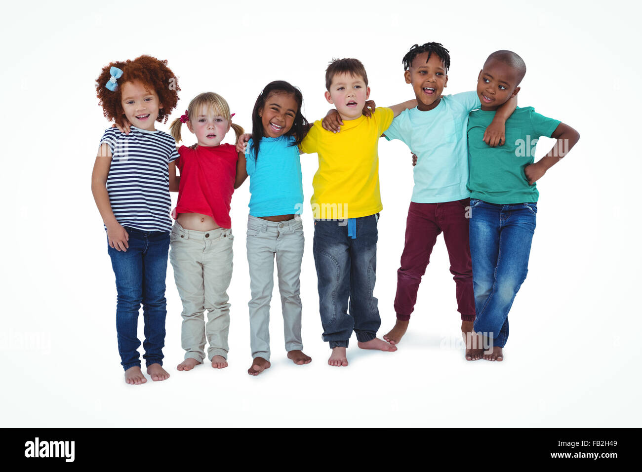 Cute barefooted kids hugging and looking at camera - Stock Image