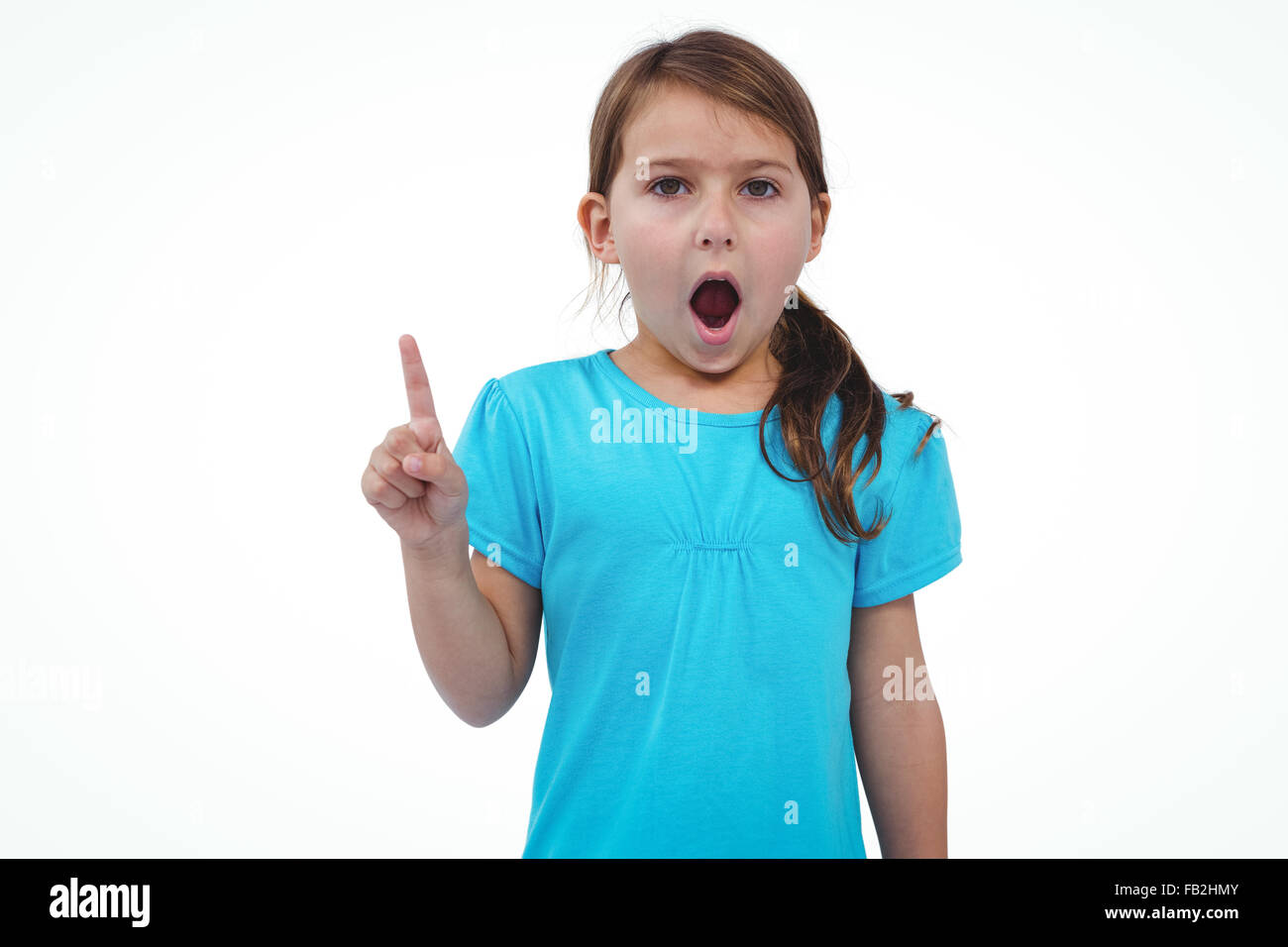 Cute girl shaking finger saying no to the camera - Stock Image