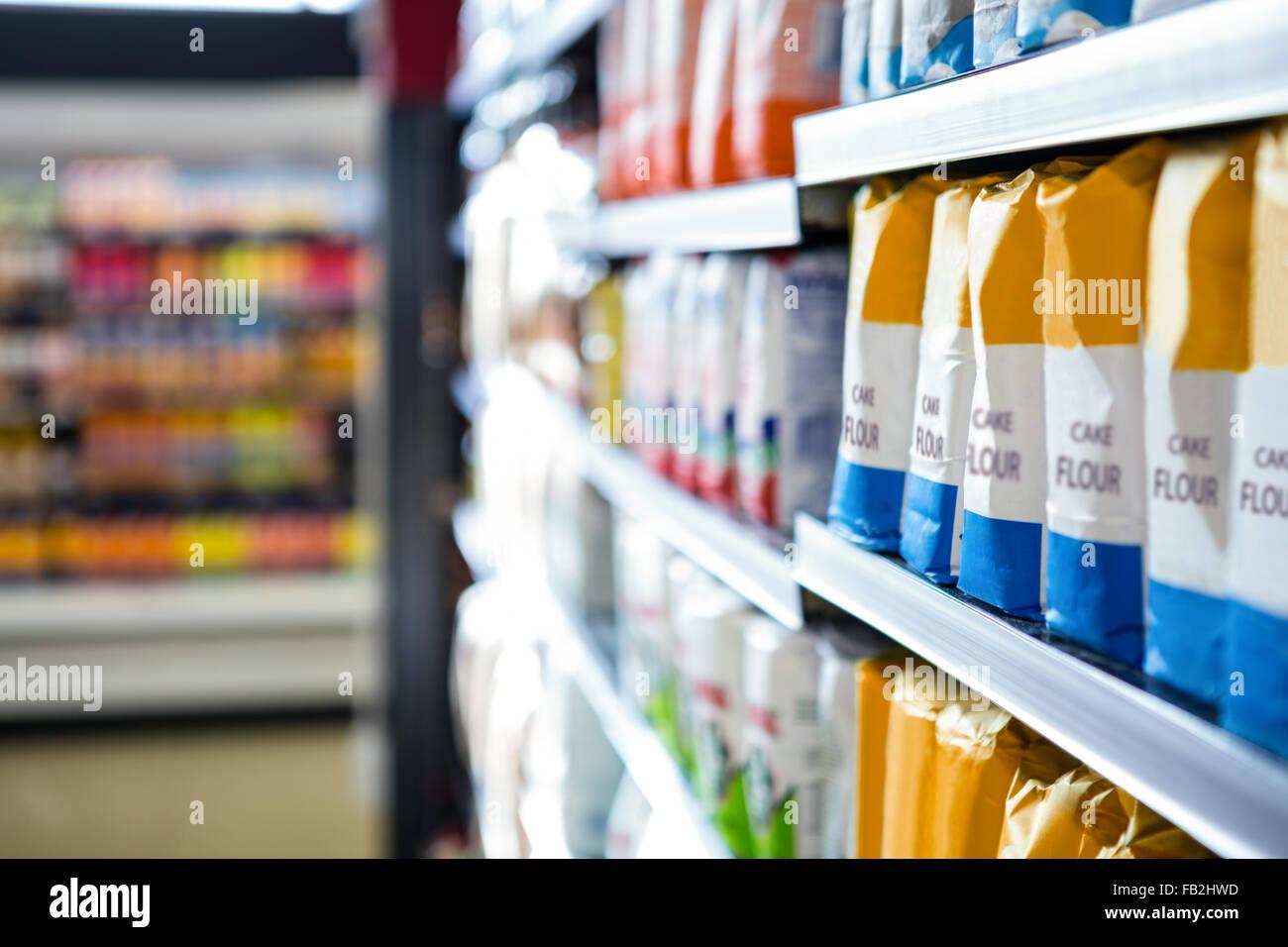 Supermarket shelves - Stock Image