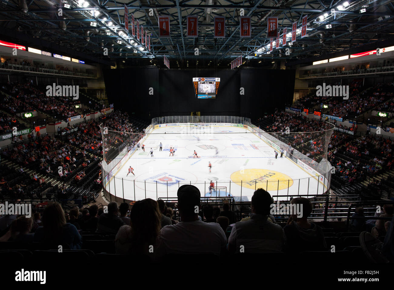 Sheffield Steelers ice hockey team play at the Motorpoint Sheffield Arena in Sheffield, South Yorkshire. - Stock Image