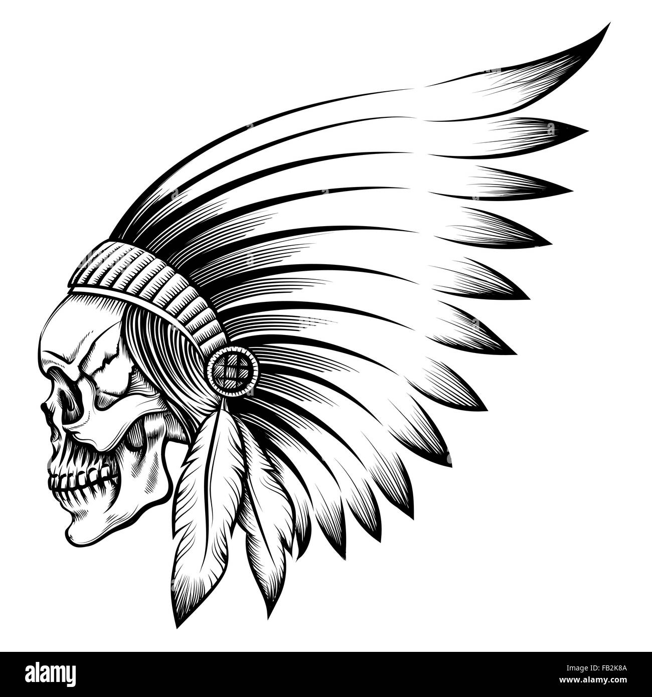 Indian chief skull in engraving style - Stock Image