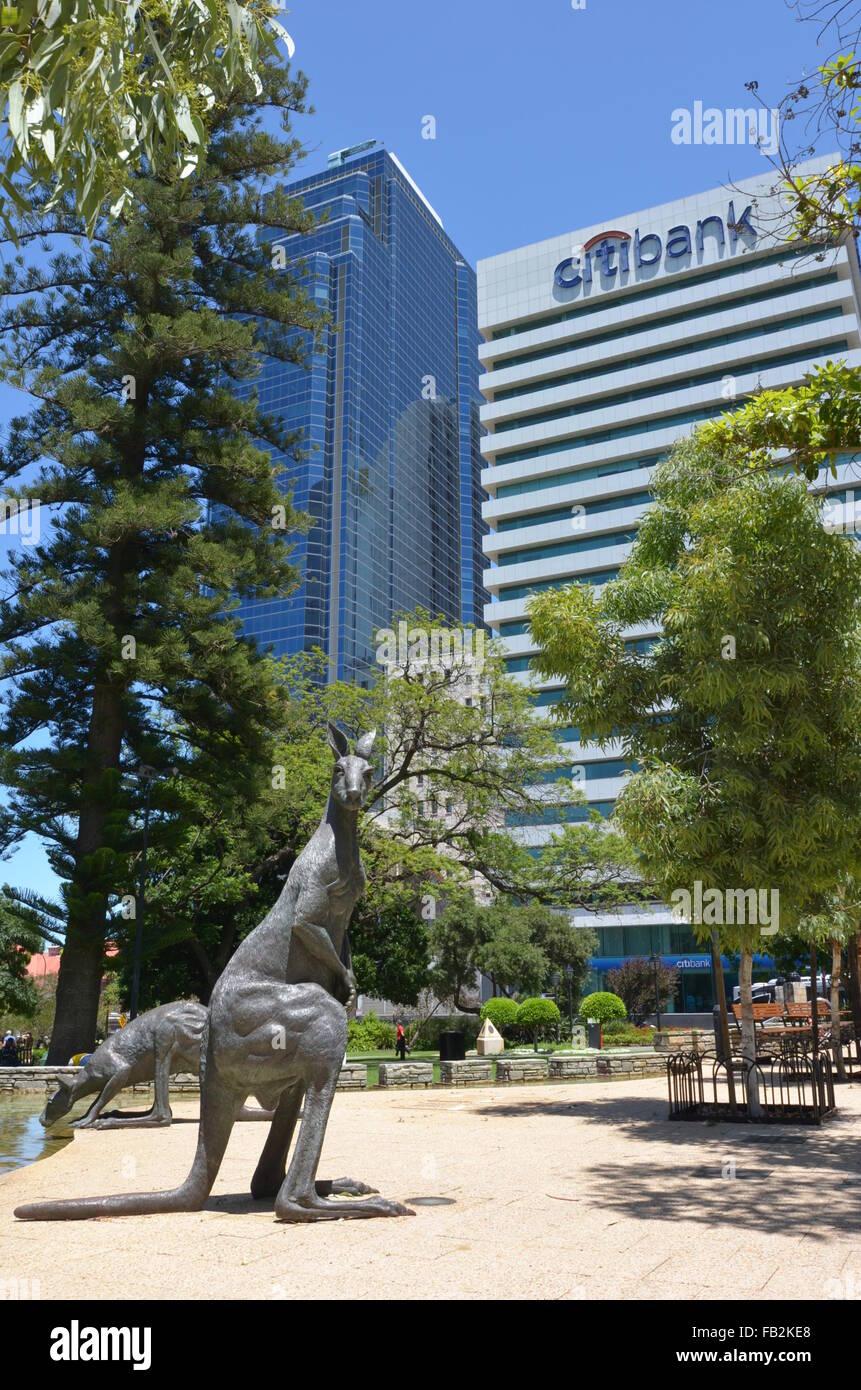 Kangaroo sculptures in Stirling Gardens, Perth, Australia - Stock Image