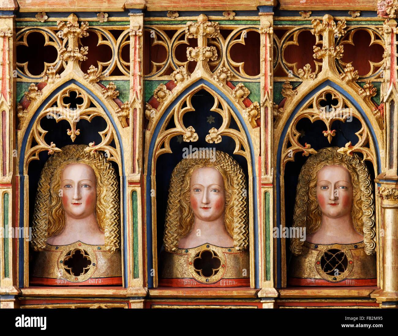 Marienstatt, Abteikirche, Ursulaaltar, Reliquienbüsten der Heiligen Ursula von Köln und ihrer Gefährtinnen - Stock Image