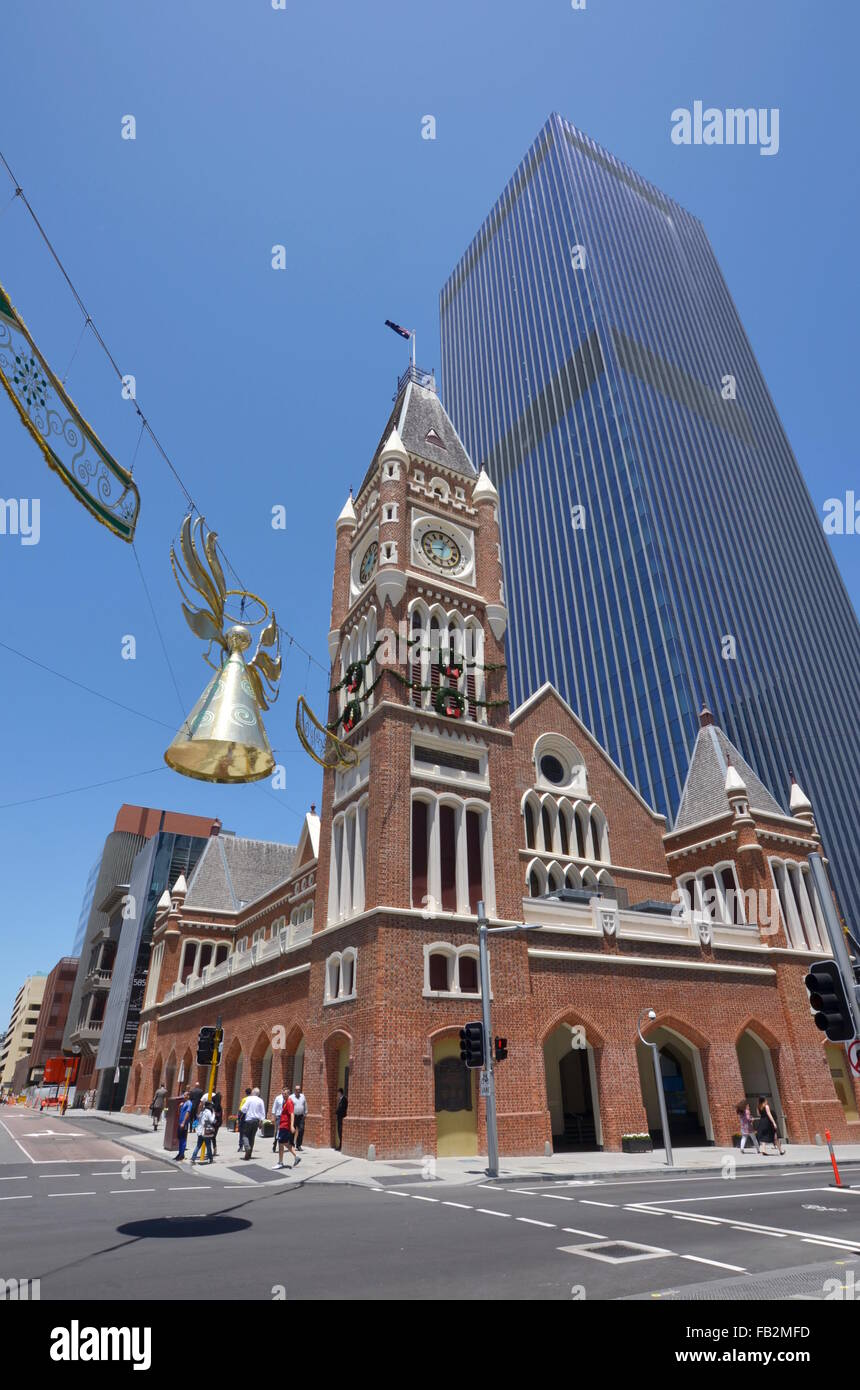 Perth Town Hall, the only town hall built by convicts in Australia, with Christmas decoration outside, Australia - Stock Image