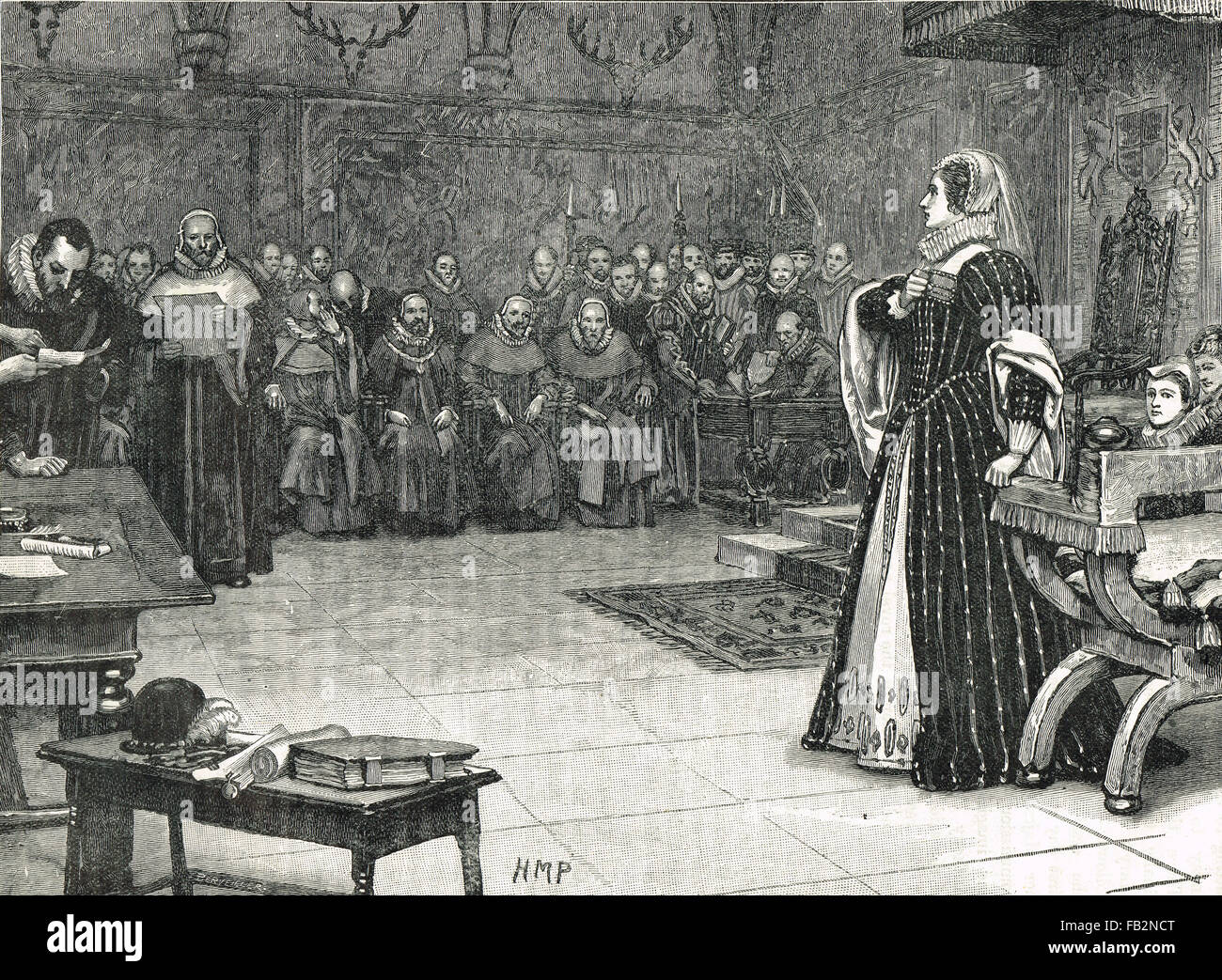 Trial Mary Queen of Scots Fotheringay 1586 - Stock Image
