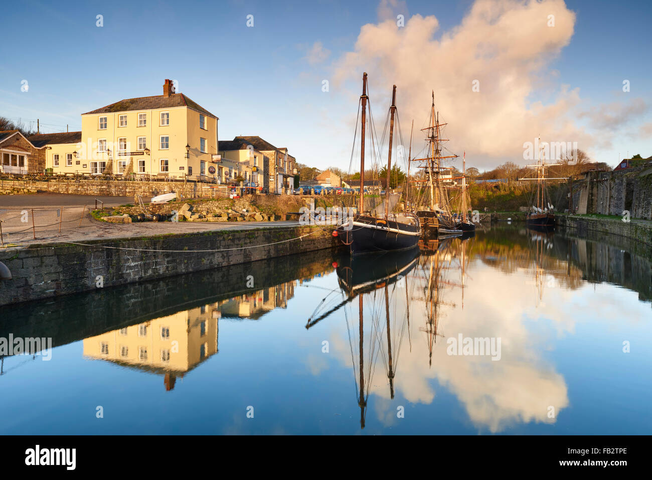 The waterfront at the historic port of Charlestown Cornwall - Stock Image