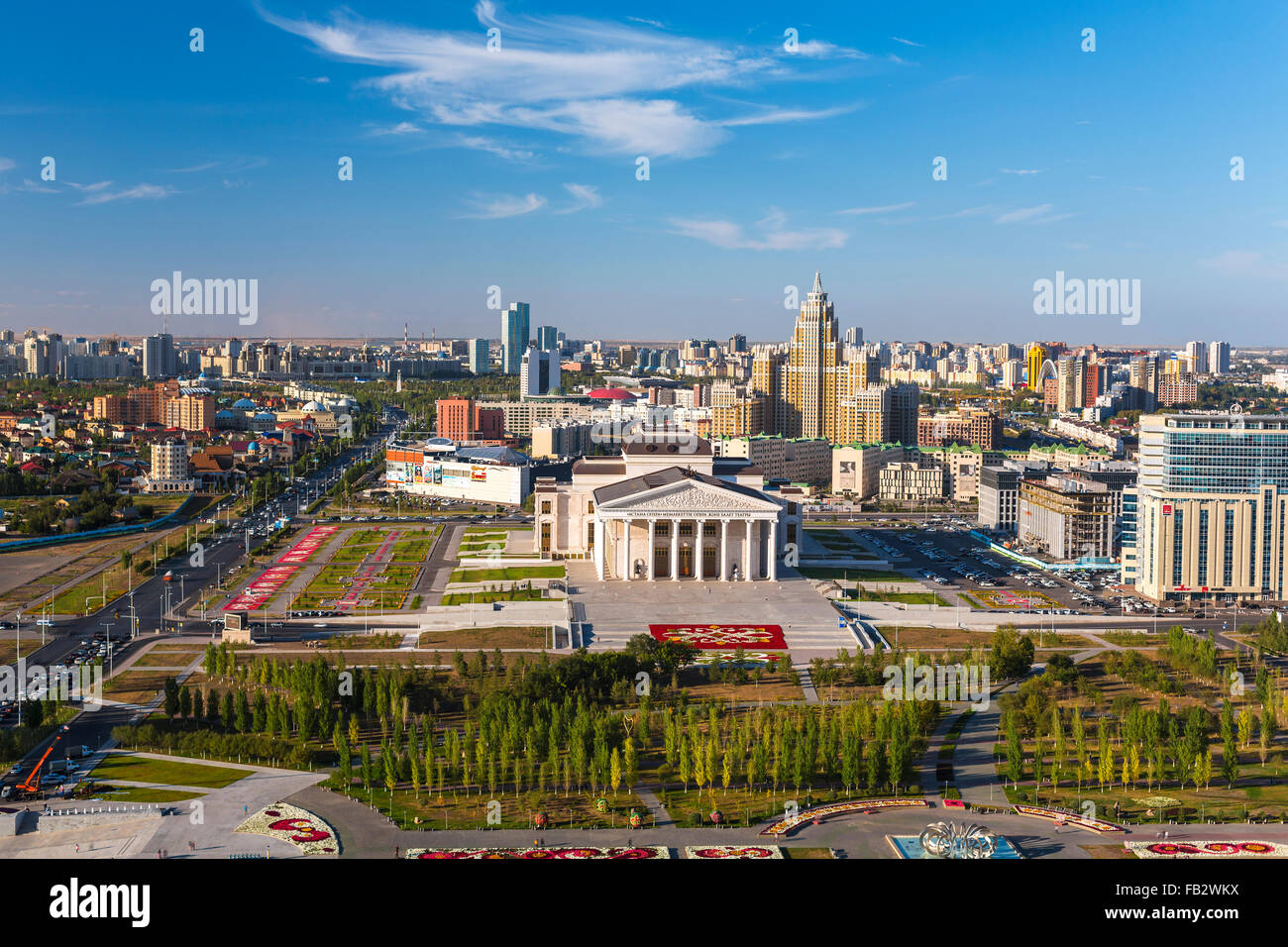 Central Asia, Kazakhstan, Astana, elevated view over the city center and Opera Theater building - Stock Image
