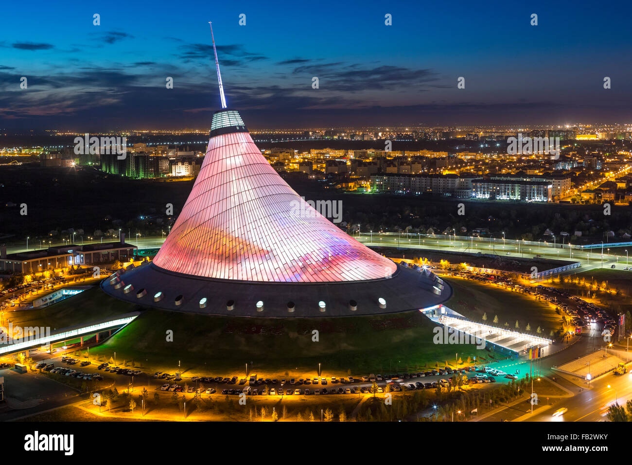 Central Asia, Kazakhstan, Astana, Night view over Khan Shatyr entertainment center - Stock Image