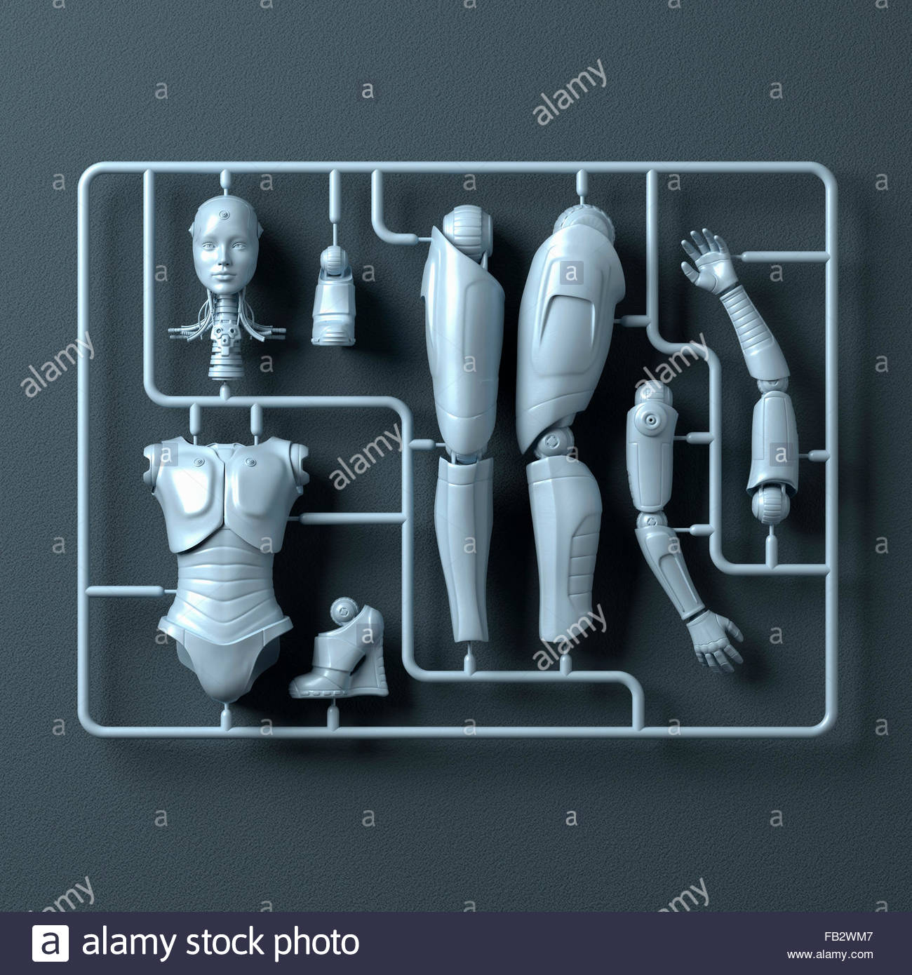 Plastic assembly kit for female android - Stock Image